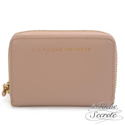 La-Poche-Secrete-簡約風格質感真皮萬用卡片零錢包-氣質杏