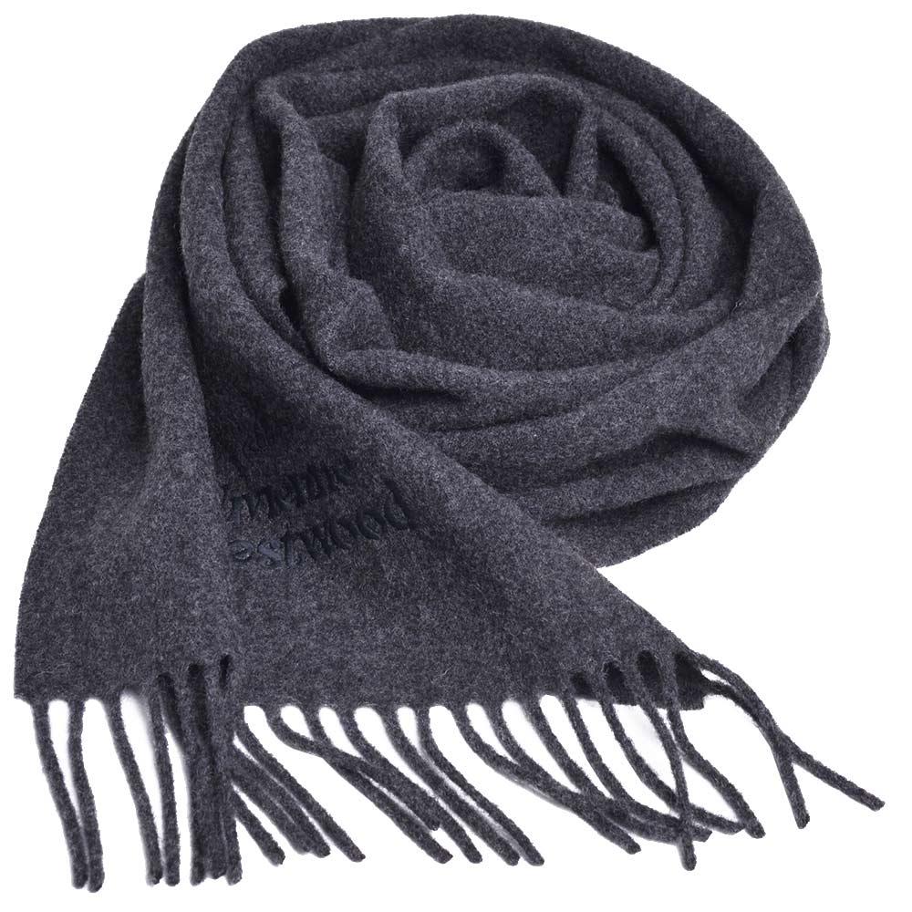 Vivienne Westwood 長版刺繡行星LOGO羊毛圍巾(深灰)