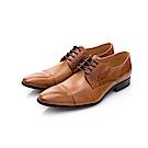 ALLEGREZZA-真皮男鞋-極簡都會-素雅切面尖頭綁帶鞋  焦糖色