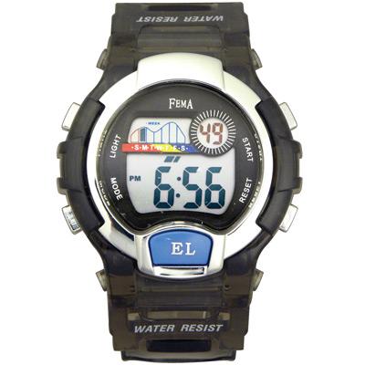 FEMA 亮彩實用 計時鬧鈴休閒錶(P170G)-果凍灰/37mm