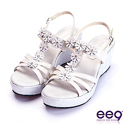 ee9 經典手工閃耀鑲嵌亮鑽魚口楔型跟涼鞋  米色
