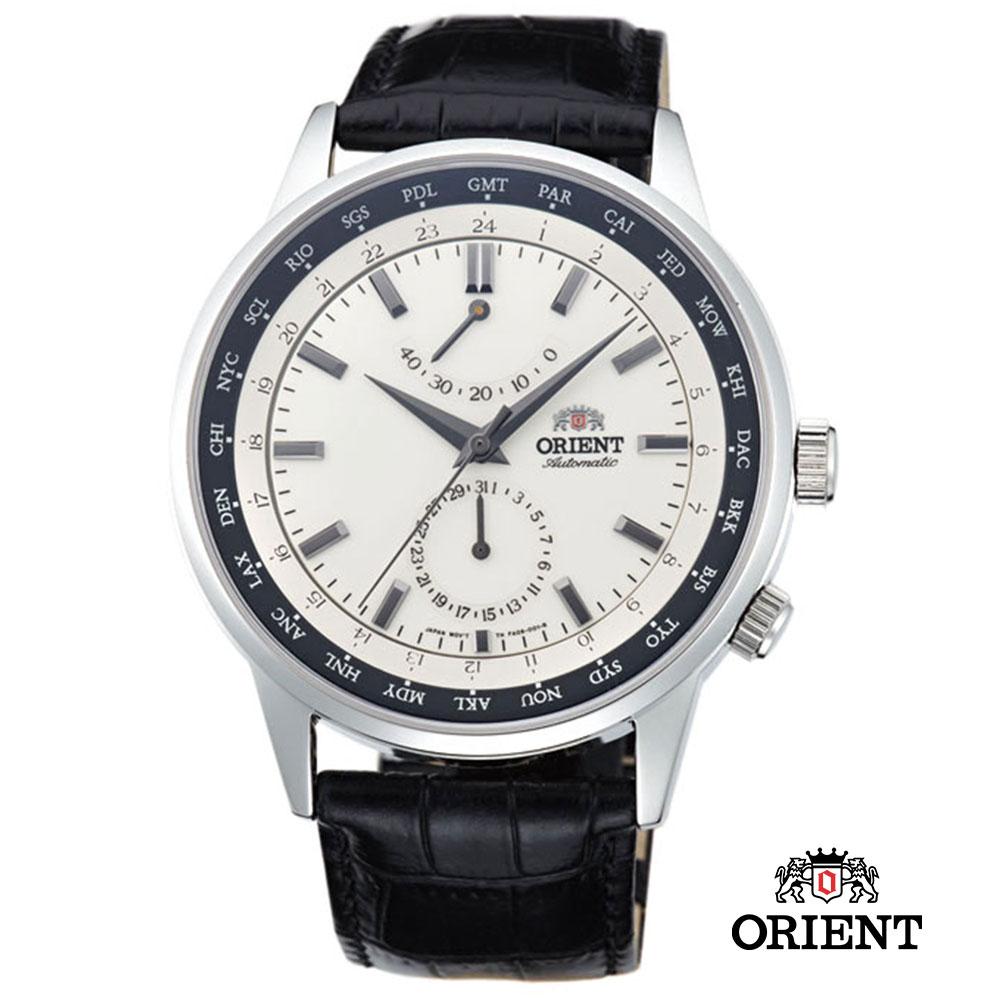 ORIENT 東方錶 WORLD TIME系列 世界時間機械錶-白色/43.5mm