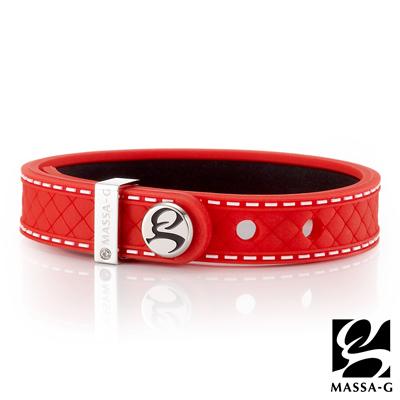 MASSA-G X DECO ONLY U唯你鍺鈦手環-品牌菱格紋(紅)