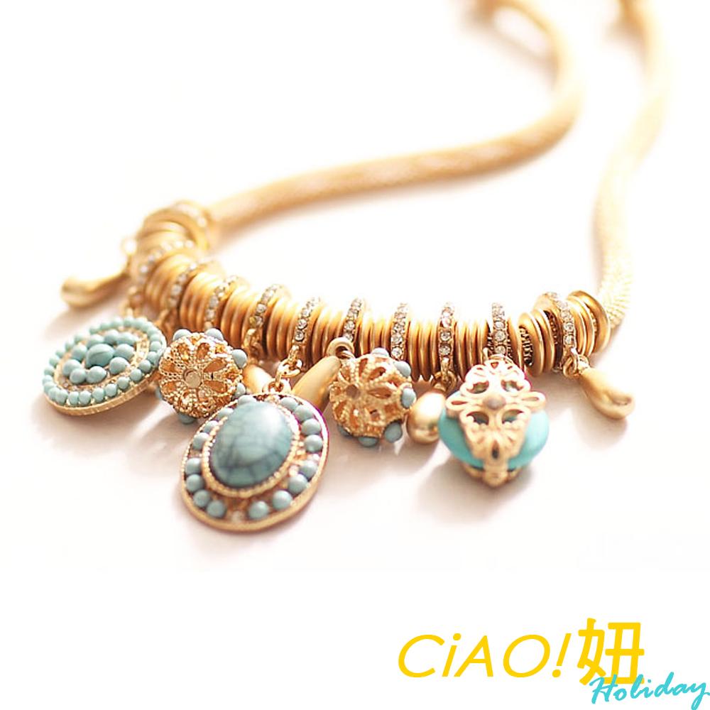 異國風環鑽寶石吊墜鎖骨項鍊 (藍綠色)-CIAO妞 Holiday