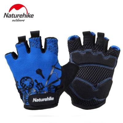 Naturehike 抗震防滑耐磨半指騎行手套 運動手套 炫藍