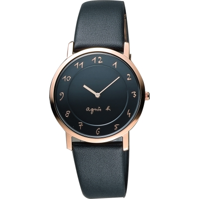 agnes b. 法國時尚藝術薄型石英女錶(BG4009P1)-黑x玫塊金框/34mm