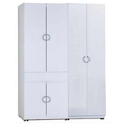 AT HOME-凱倫4.6尺白色兩件組合衣櫃[中抽掀鏡+雙吊](140*54*197cm)