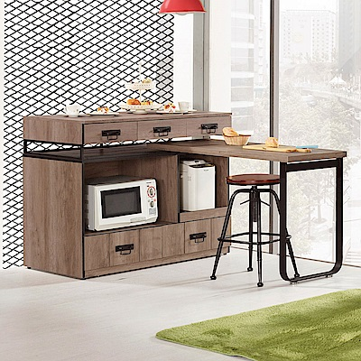 Bernice-偉德4尺工業風中島型多功能餐桌/餐櫃-121x60x93cm