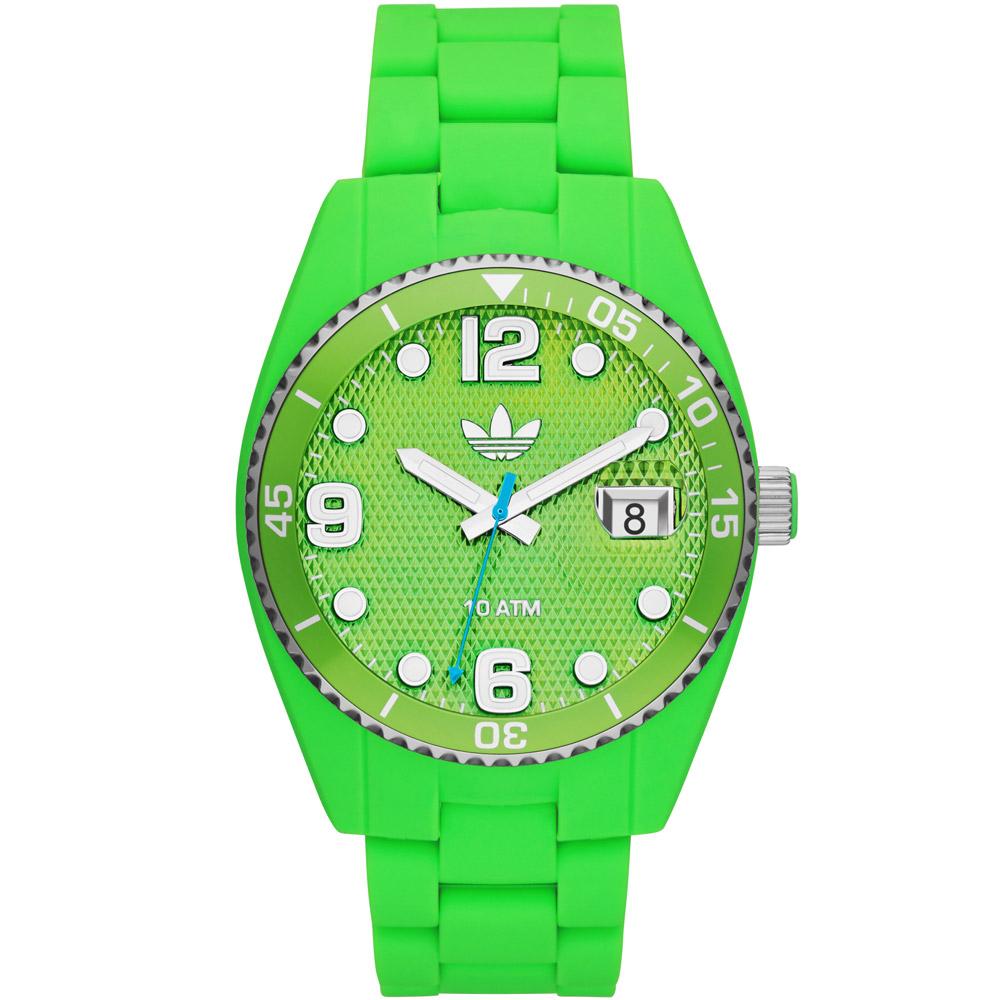 adidas Brisbane 彩色搖滾格紋矽膠腕錶-螢光綠 /42mm