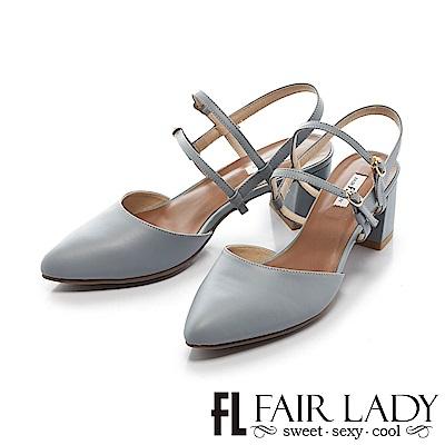 Fair Lady 優雅小姐Miss Elegant 復古雙繫帶粗跟尖頭涼鞋 藍