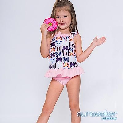 澳洲Sunseeker抗UV防曬粉色蝴蝶兩件式泳衣-小女童/粉蝶