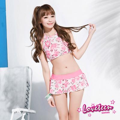 夏之戀Loveteen 比基尼泳裝 比基尼四件式泳裝 白底粉紅印花