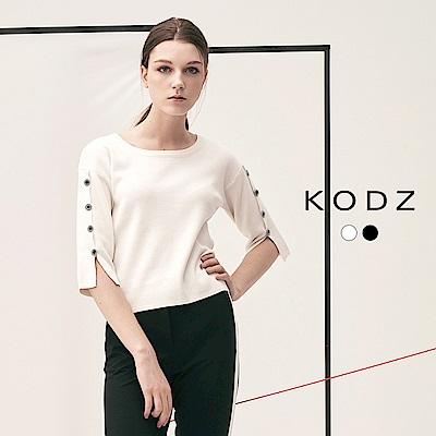 東京著衣-KODZ 歐美流行造型排釦設計針織上衣-S.M.L(共二色)