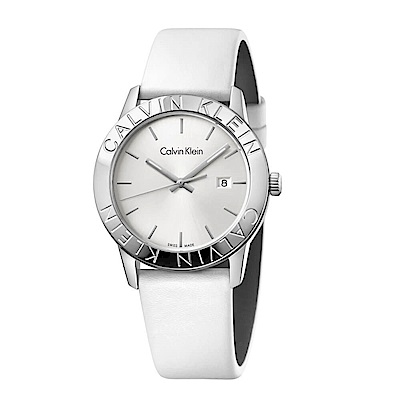 CK CALVIN KLEIN Steady 凝視系列錶框品牌字樣白面手錶-38mm