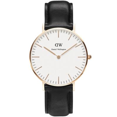 DW Daniel Wellington Sheffield經典皮革腕錶-白X黑/36mm