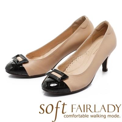 Fair Lady Sfot芯太軟 菱格拼接立體方扣高跟鞋 粉