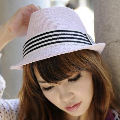 Aimee Toff 粉紅小曲線條點晶造型紳士帽