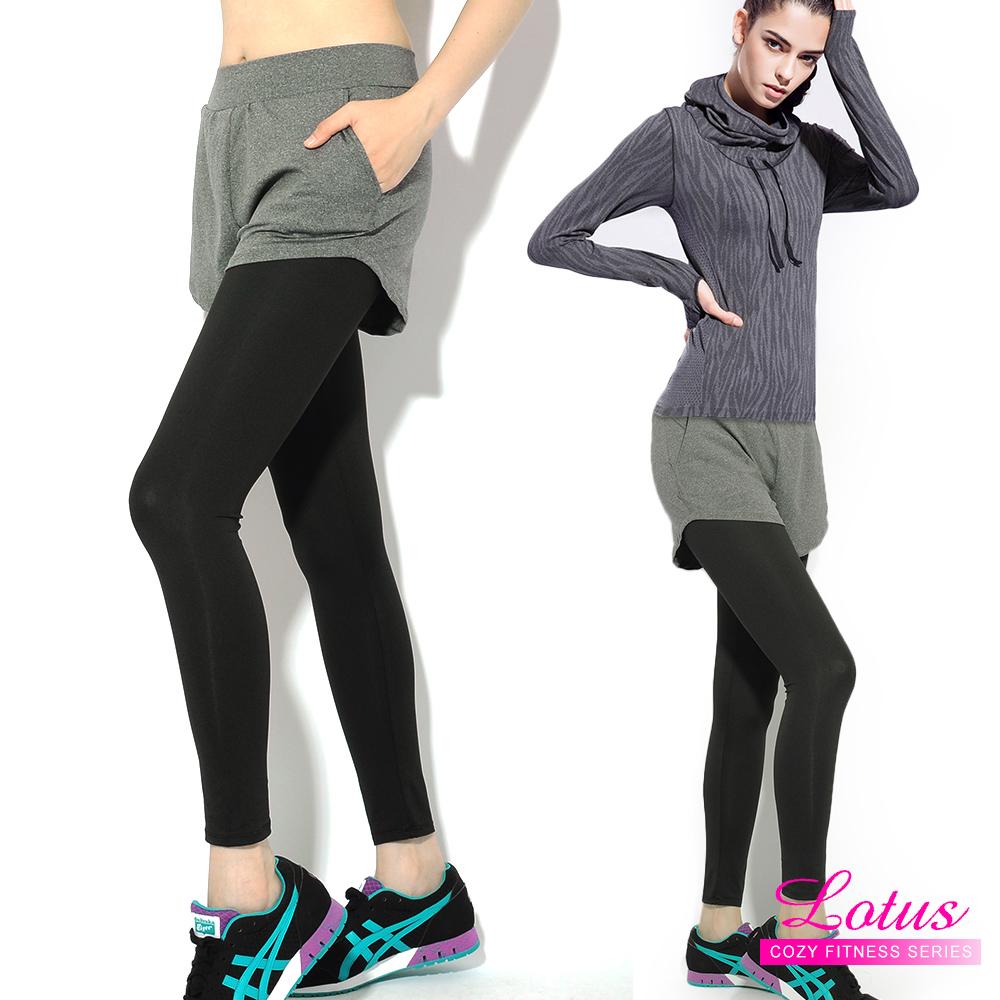 運動褲 簡約個性顯瘦假兩件九分運動褲-率性灰 LOTUS