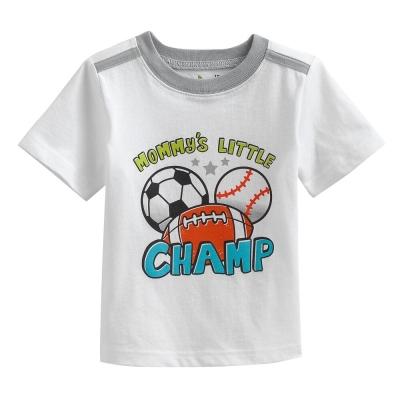 歐美風格設計 小童男童短棉T居家外出 球類運動 白色