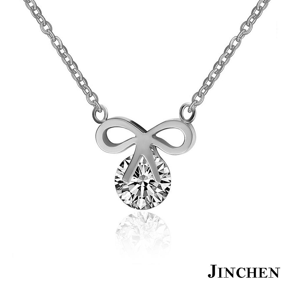 JINCHEN 白鋼蝴蝶結女性項鍊-銀色