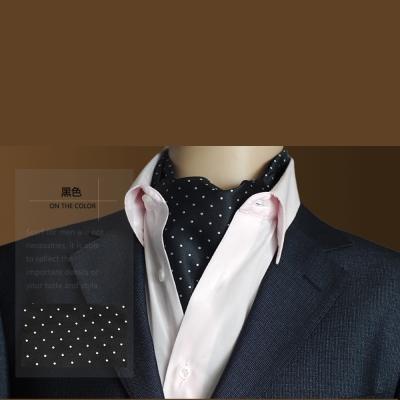 拉福 男大領巾圍巾造型紳仕歐美(黑底白點)