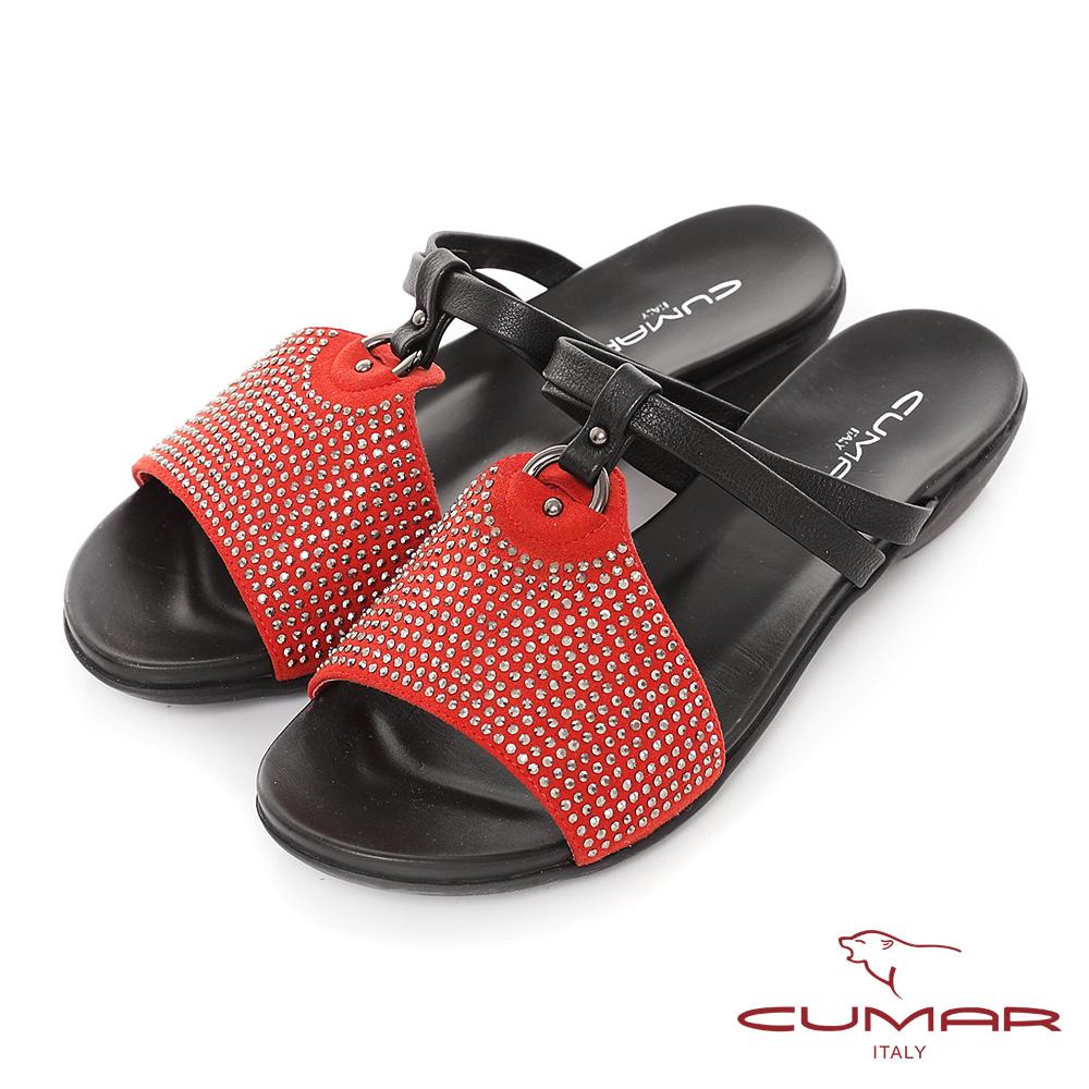 CUMAR活力花綴-麂皮水鑽鞋面楔型涼拖鞋-紅