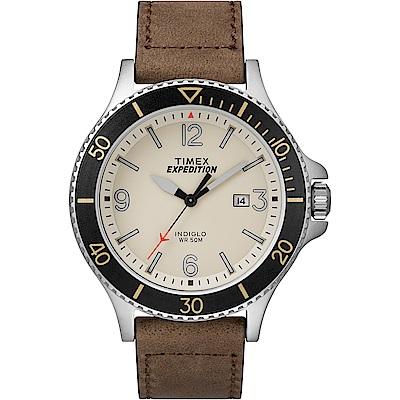 TIMEX 天美時 Expedition系列 精緻手錶 米色x咖啡色/43mm