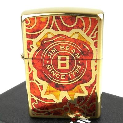 ZIPPO美系~JIM BEAM金賓波本威士忌圖案設計打火機-彩繪玻璃款