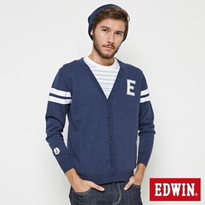 EDWIN E字長袖開襟外套-男-藍色