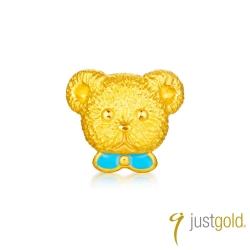鎮金店Just Gold 英式小熊系列-純金單耳耳環(王子)