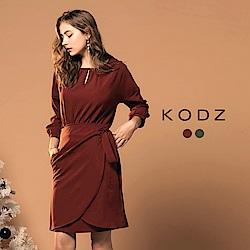 東京著衣-KODZ歐美部落客時尚修身圍裹式設計洋裝-S.M.L(共二色)