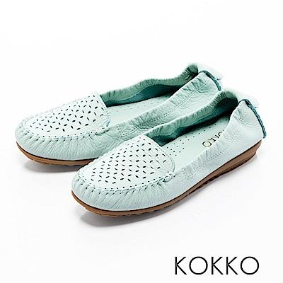 KOKKO -舒適彈力鏤空雕花牛皮休閒平底鞋- 薄荷藍