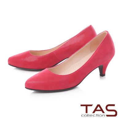TAS素面壓紋羊絨皮高跟鞋-美型紅