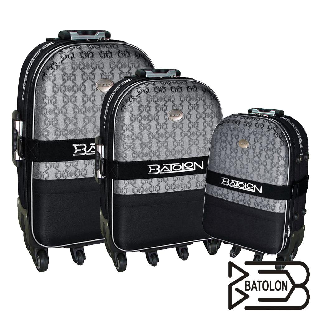 BATOLON寶龍 21+25+29吋/三件組-典雅緹花旅行拉桿箱〈黑〉