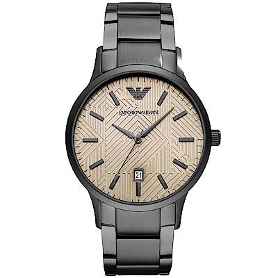 Emporio Armani 幾何美學時尚手錶(AR11120)- 金X鐵灰/43mm
