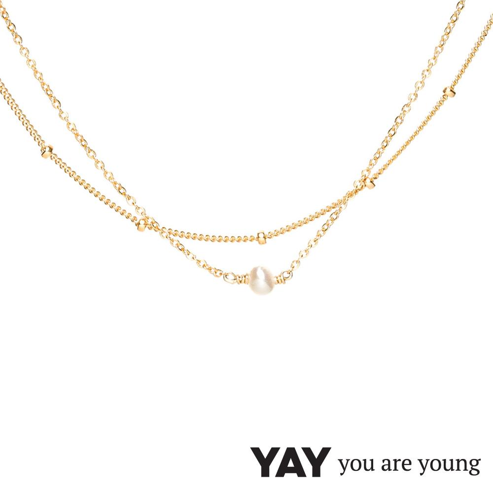 YAY You Are Young 法國品牌 Stella 珍珠項鍊 金色