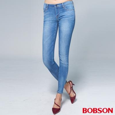 """BOBSON 女款1971""""日本黑標""""大彈力水藍色窄管褲"""