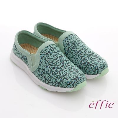 effie 輕量樂活 真皮雕刻圖騰休閒鞋 淺綠