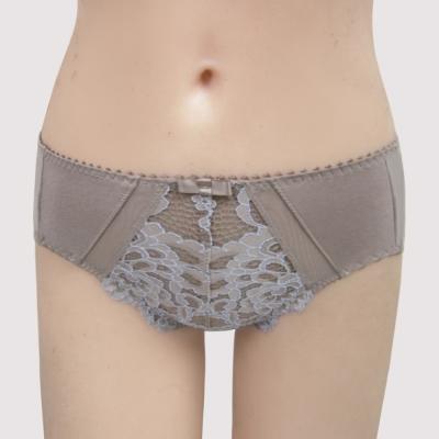 曼黛瑪璉-雙弧絲蛋白  中腰三角棉褲(粉彩灰)