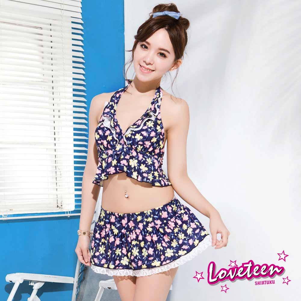 夏之戀Loveteen 比基尼泳裝 短版三件式 深藍粉紅碎花