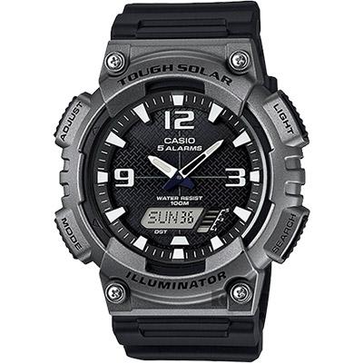 CASIO 卡西歐 太陽能電力 金屬色運動錶-鐵灰/52.2mm