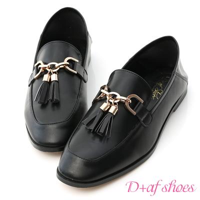 D+AF 紳士風格.金釦流蘇後踩式樂福鞋*黑