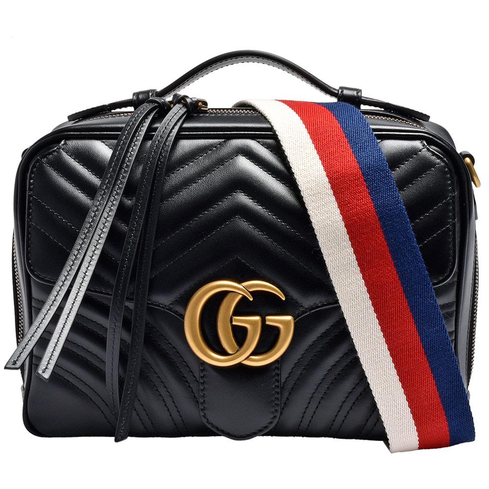 GUCCI 經典GG Marmont絎縫紋牛皮金屬雙G LOGO白紅藍織帶手提/斜背包-黑