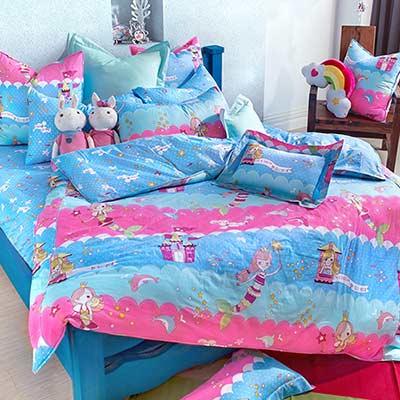 義大利Fancy Belle 小美人魚 加大四件式防蹣抗菌舖棉兩用被床包組