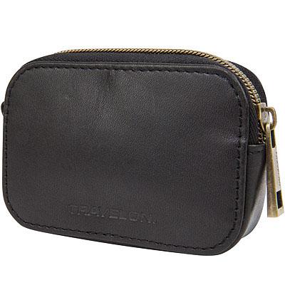 TRAVELON RFID繽紛方橢型零錢包(黑)