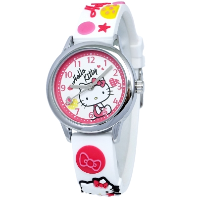 HELLO KITTY 凱蒂貓甜美可愛立體造型手錶-白X紅/30mm