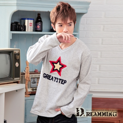 Dreamming 不倒絨STAR立體字母V領長T-共二色