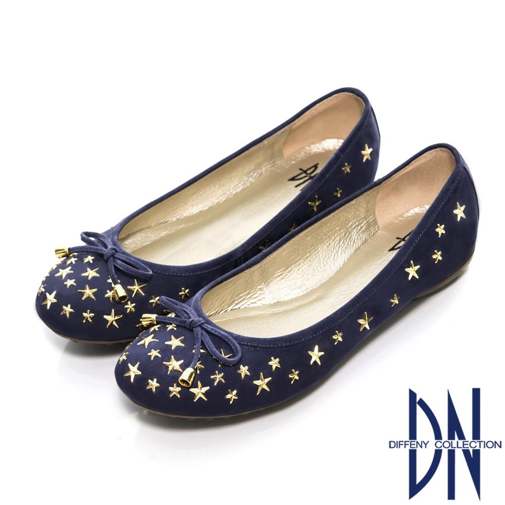 DN 甜美名媛 MIT星星鉚釘牛皮豆豆鞋 藍