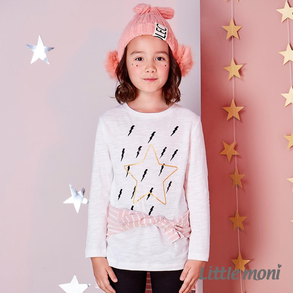 Little moni 閃電星星印圖長袖上衣 (共2色)
