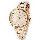 ELLE 閃耀晶鑽時尚手錶-玫瑰金/32mm